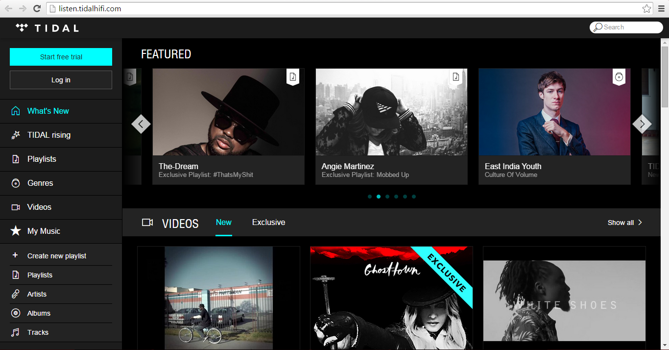 Screenshot of the Tidal main page