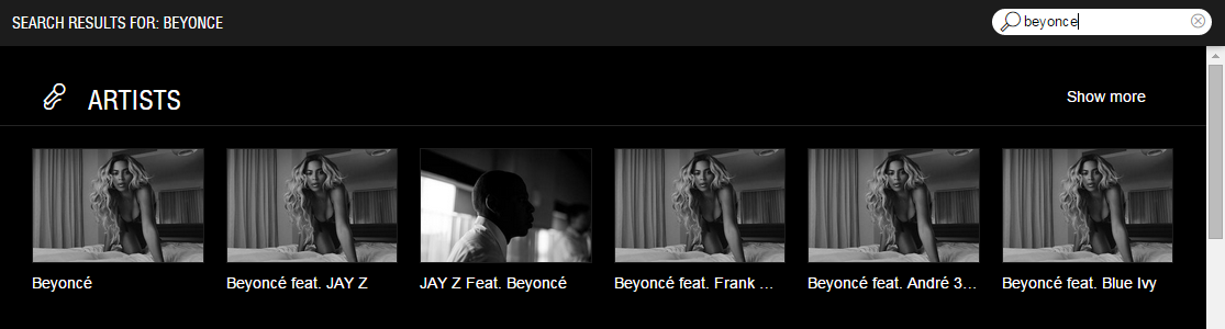 Screenshot of Tidal search results for 'Beyonce'