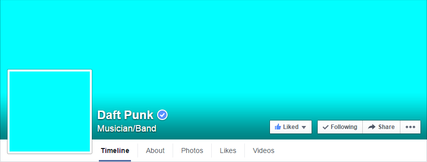 DaftPunk's all-turquoise Facebook profile