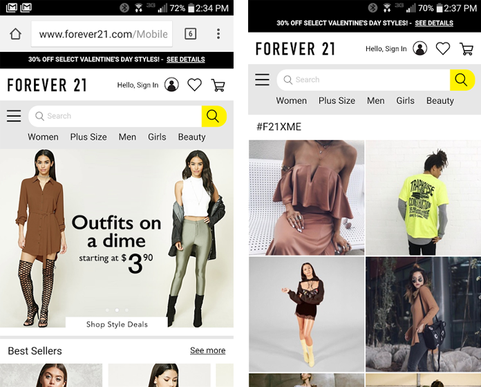 Screenshots of the Forever 21 mobile website home page