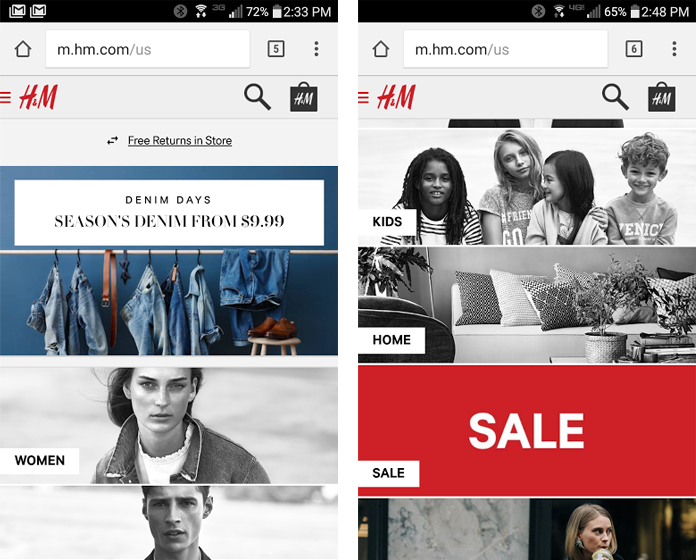 Screenshots of the H&M mobile website home page