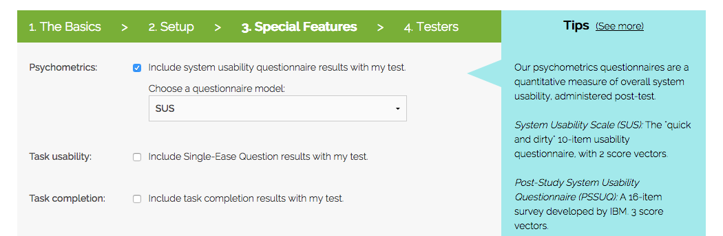 Adding SUS to a user test
