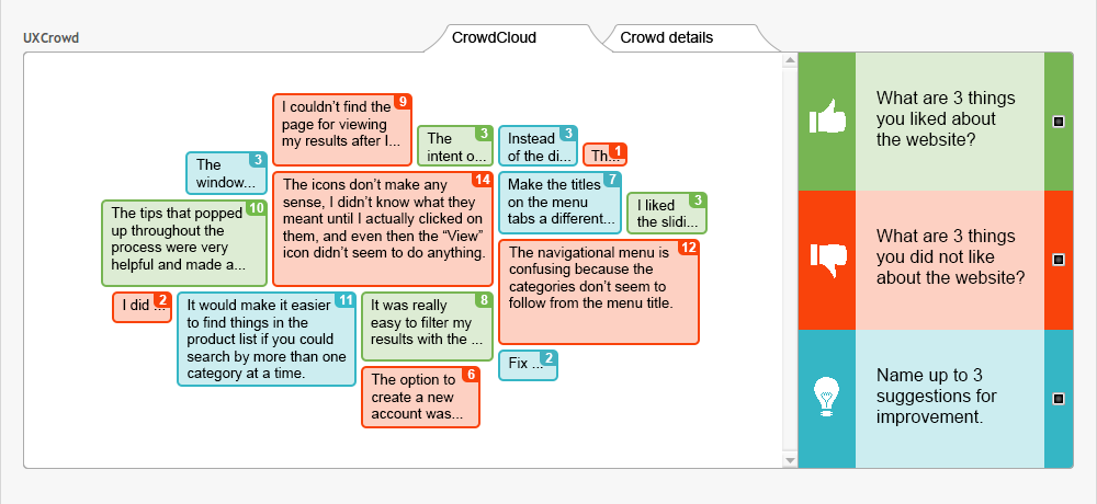 Interface design for the UXCrowd's crowd cloud view