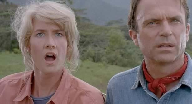Dr. Grant and Dr. Sattler react to seeing live dinosaurs for the first time