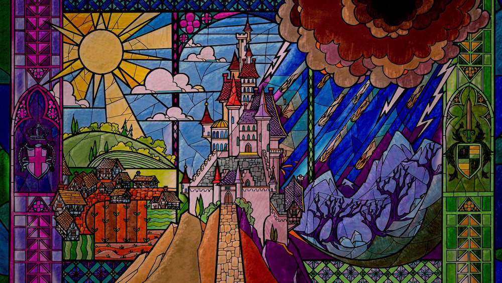 Stained-glass window prologue from Beauty and the Beast
