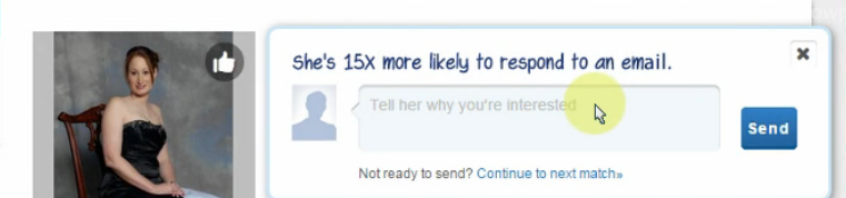 Screenshot from Match.com - Liking is replaced by a messaging box
