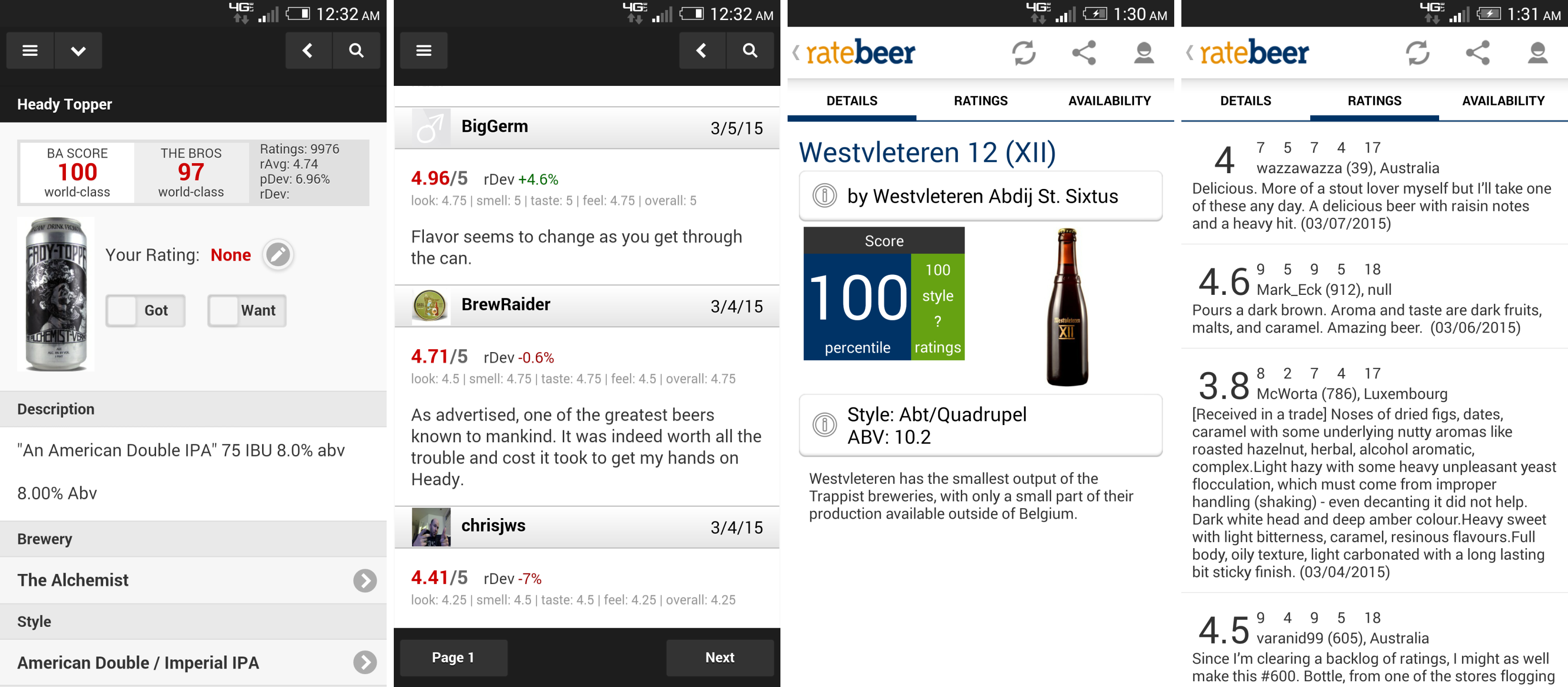 Viewing the beers and the ratings on each app