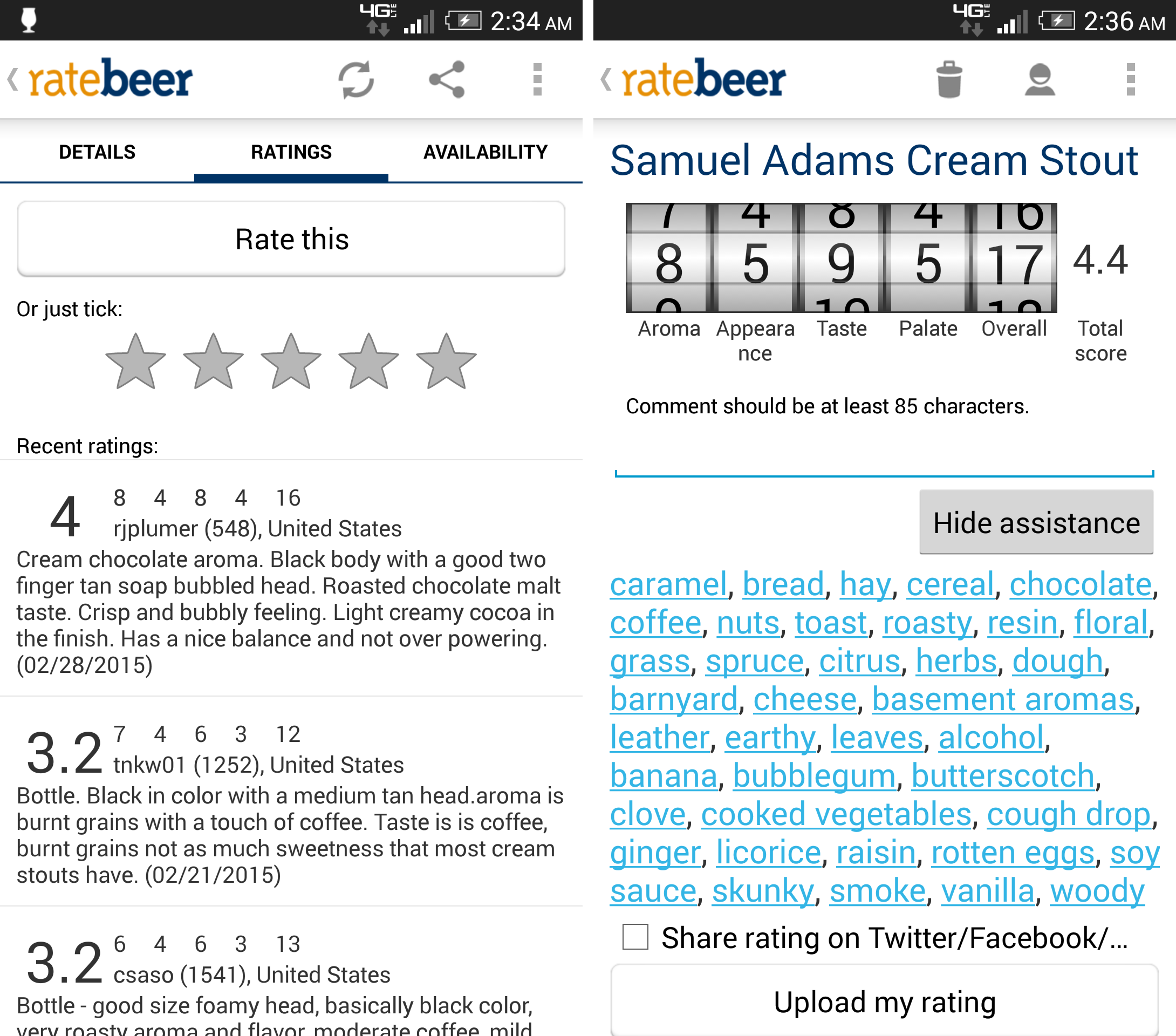 Screenshots showing the rating process on RateBeer