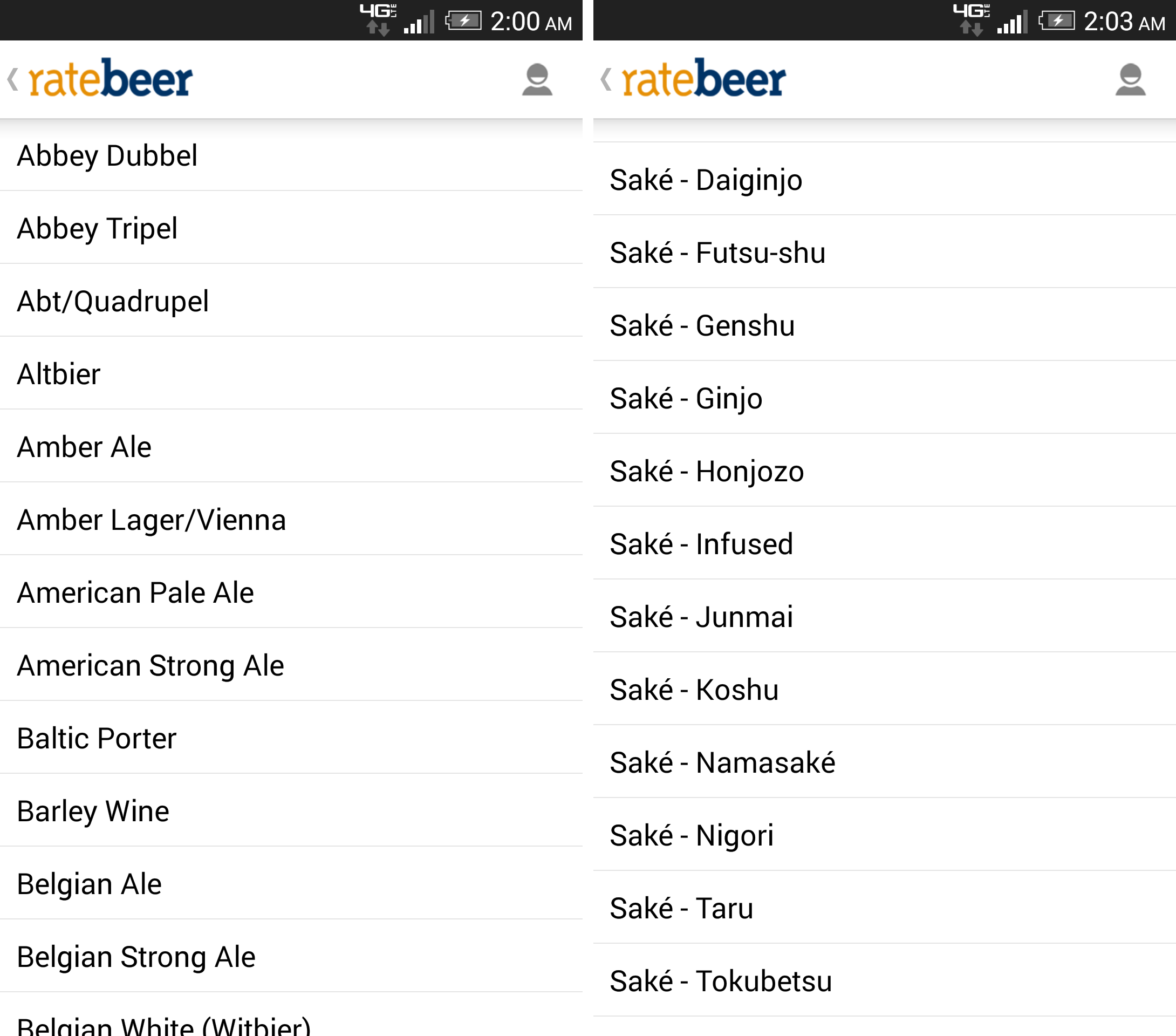 Screenshot of RateBeer's long list of beer styles