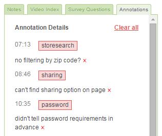Screenshot of the Annotations tab in the video view side module