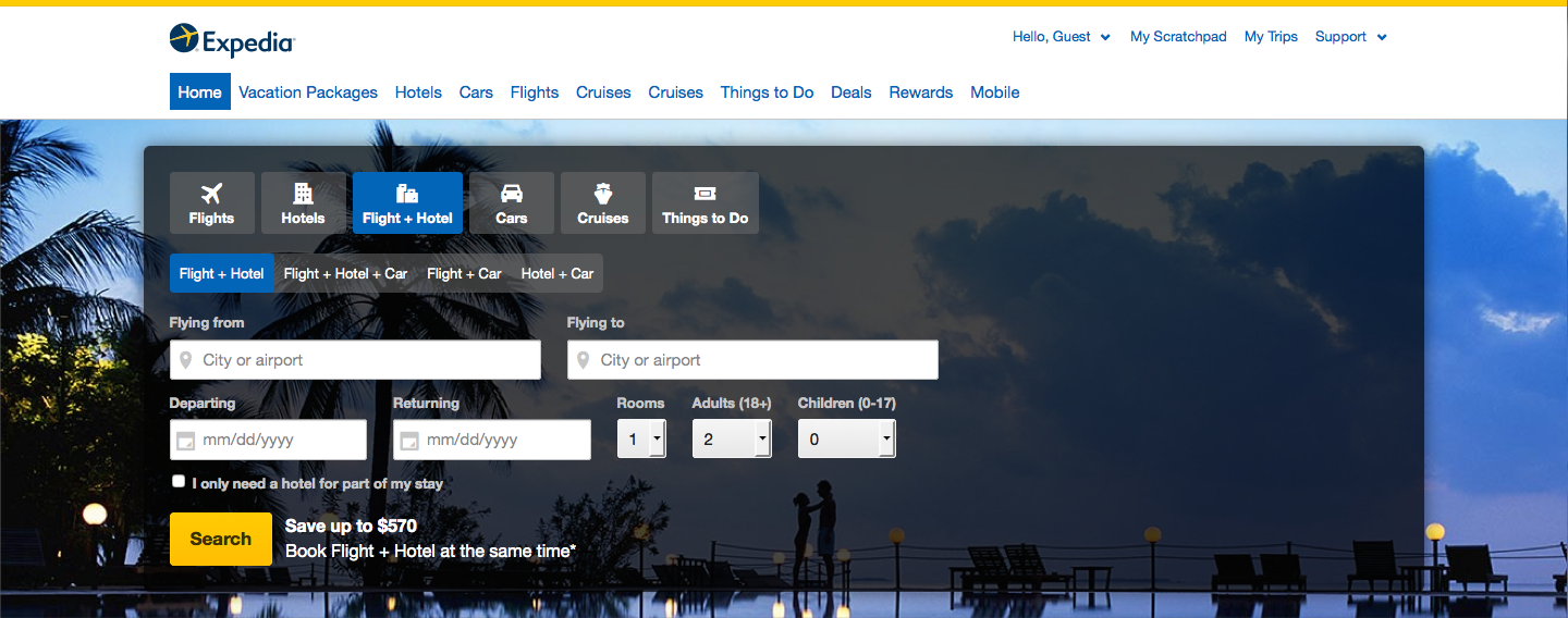 Screenshot of Expedia home screen