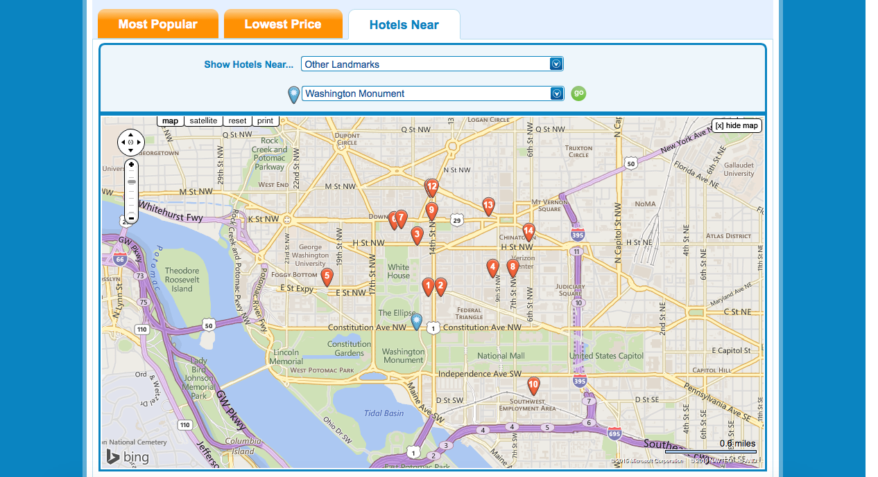 Screenshot of Hotels Near filter on Priceline