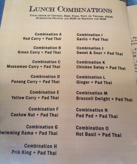 Lunch menu from a Thai restaurant listing combinations