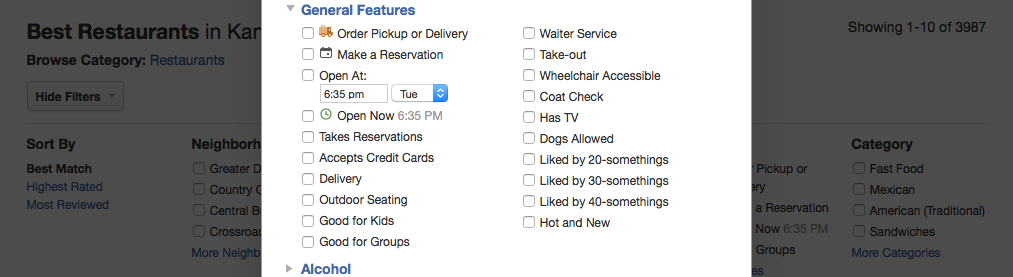 Screenshot of a popup from Yelp's filters section