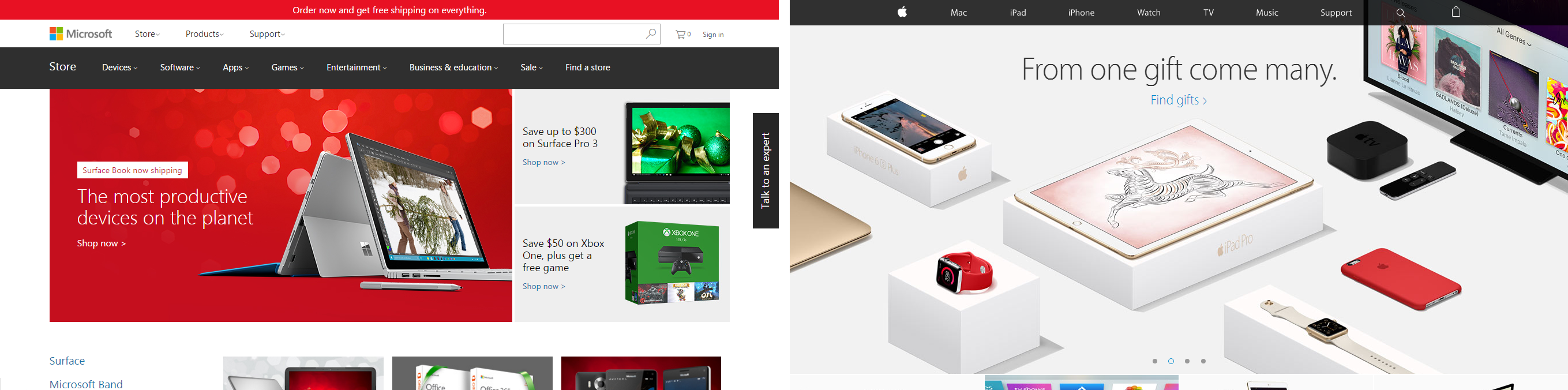 Screenshots of Microsoft and Apple home pages