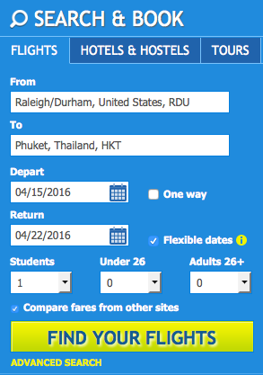 STA Travel search section