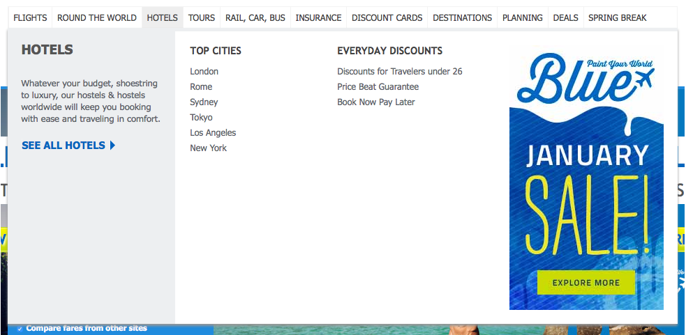 Hotels dropdown on STA Travel