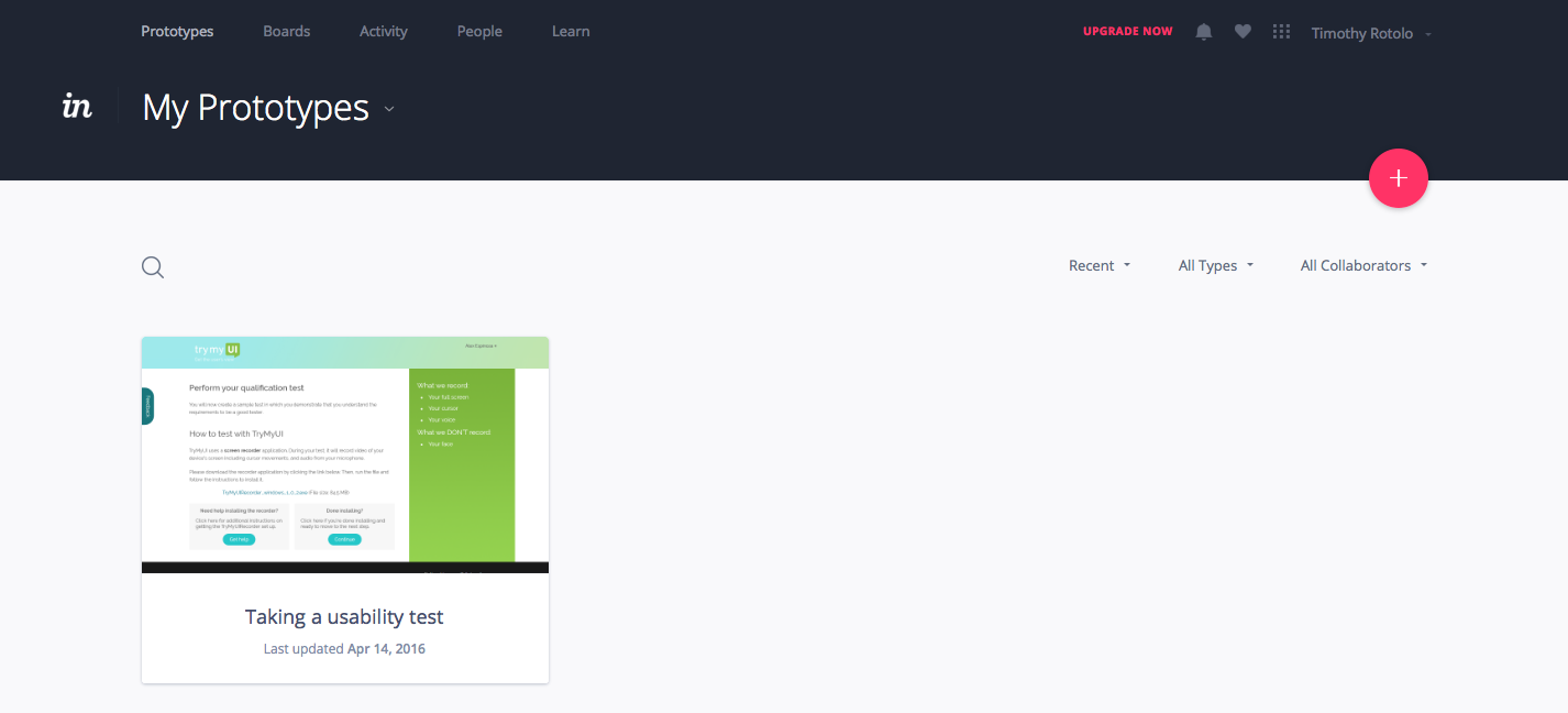 Screenshot of our InVision prototype library with one prototype in it