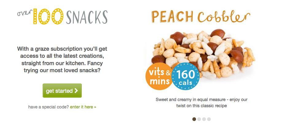 Get Started button and a sampling of featured snacks on Graze