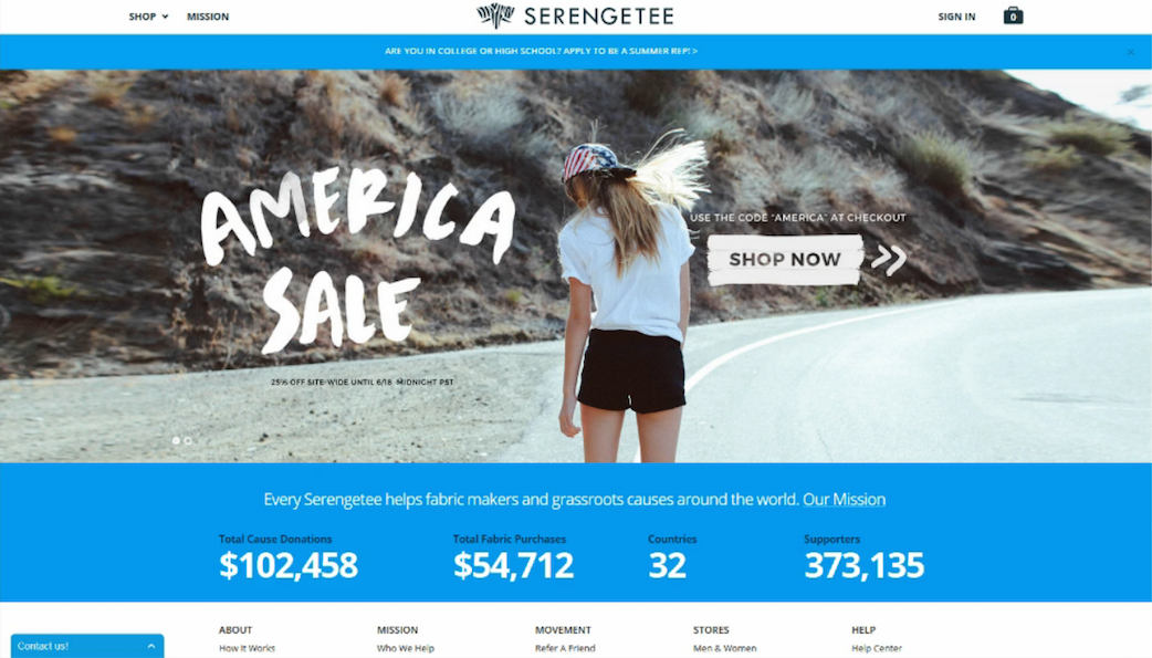 Screenshot of Serengetee's home page at the time of the test