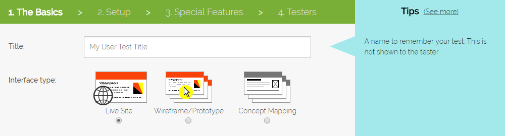 Create a new user test