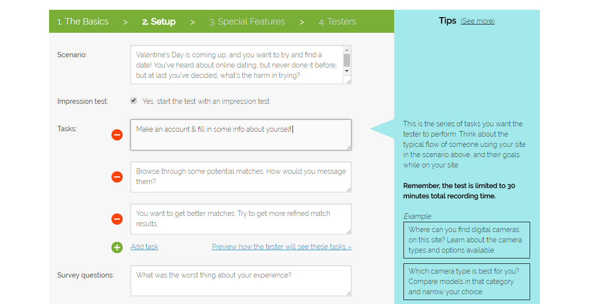 Setting up your user test, step 2: Setup