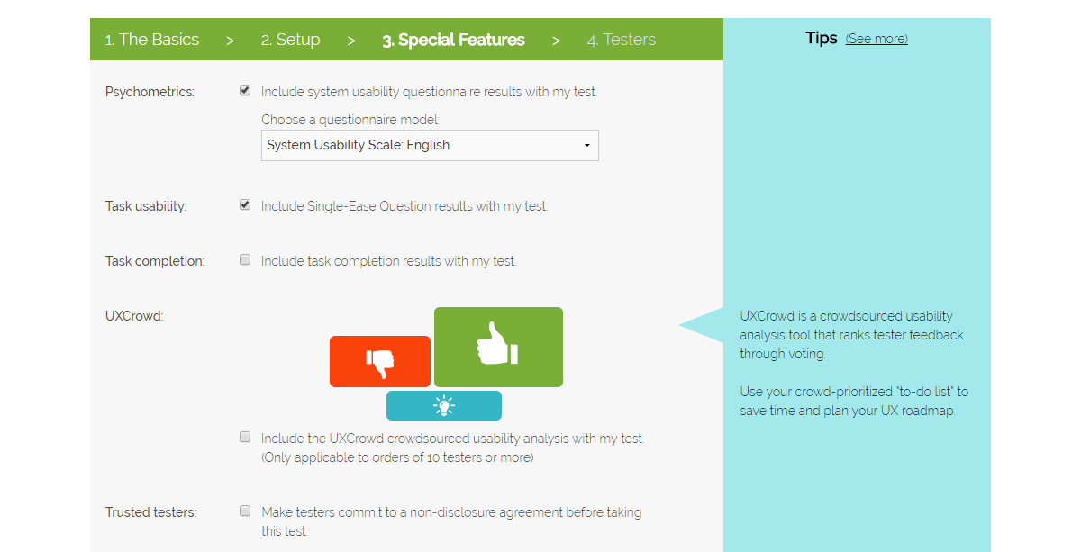Setting up your user test, step 3: Special features