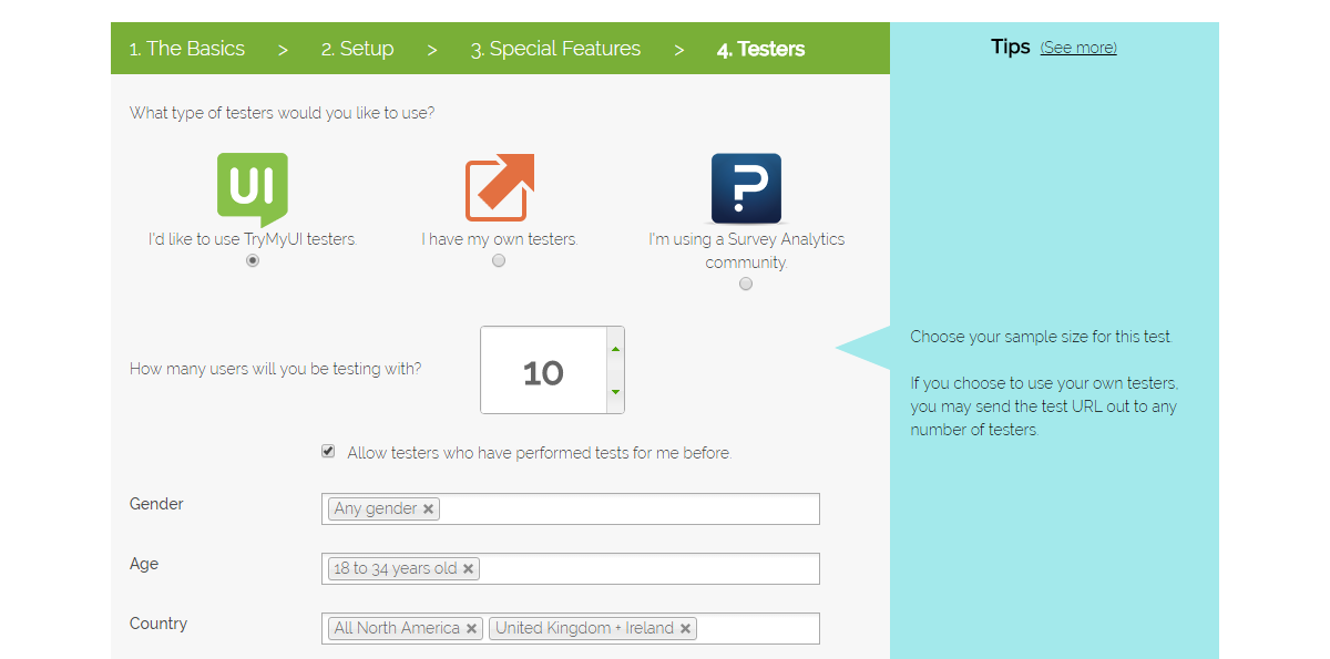 Setting up your test, step 4: Testers