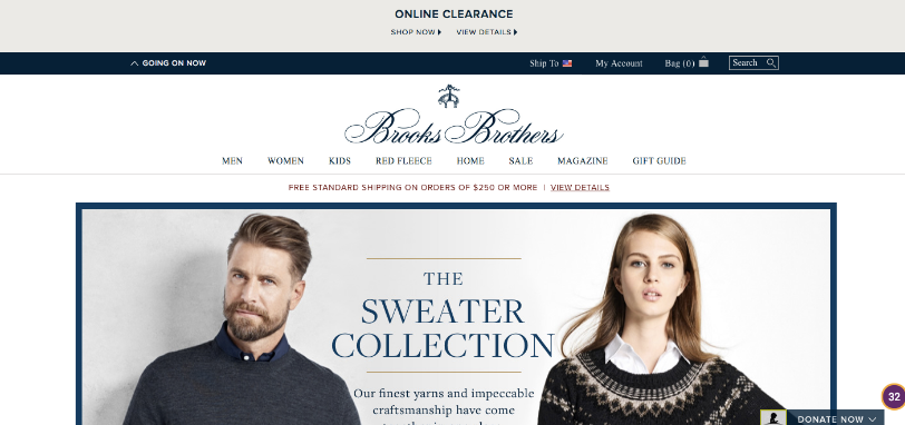 Brooks Brothers' clean and simple web design