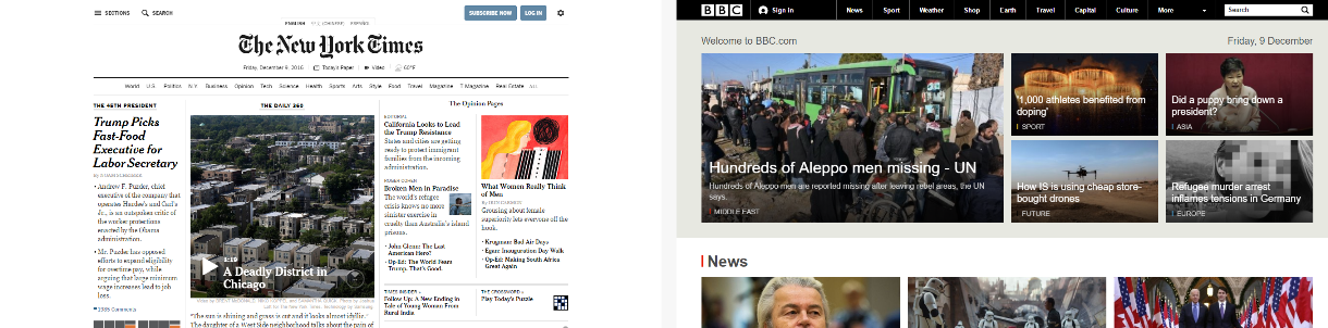 Home pages of BBC and New York Times side by side