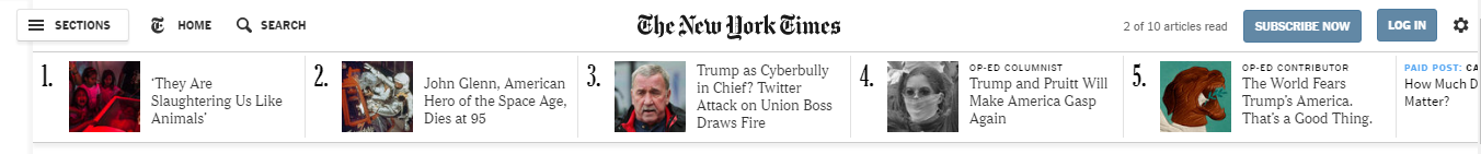 New York Times' top bar of breaking news links