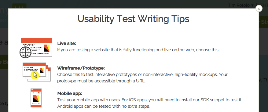 Usability Testing Tips and Pointers popup