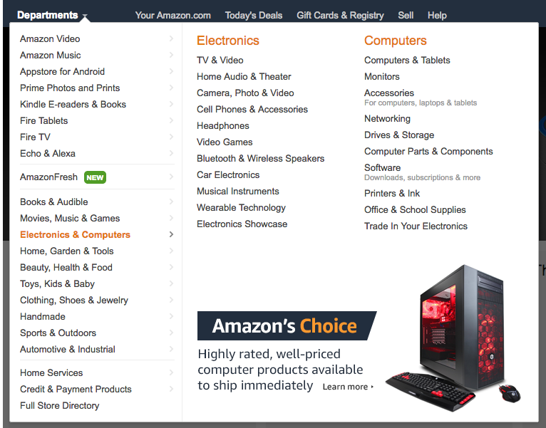 Amazon Departments dropdown