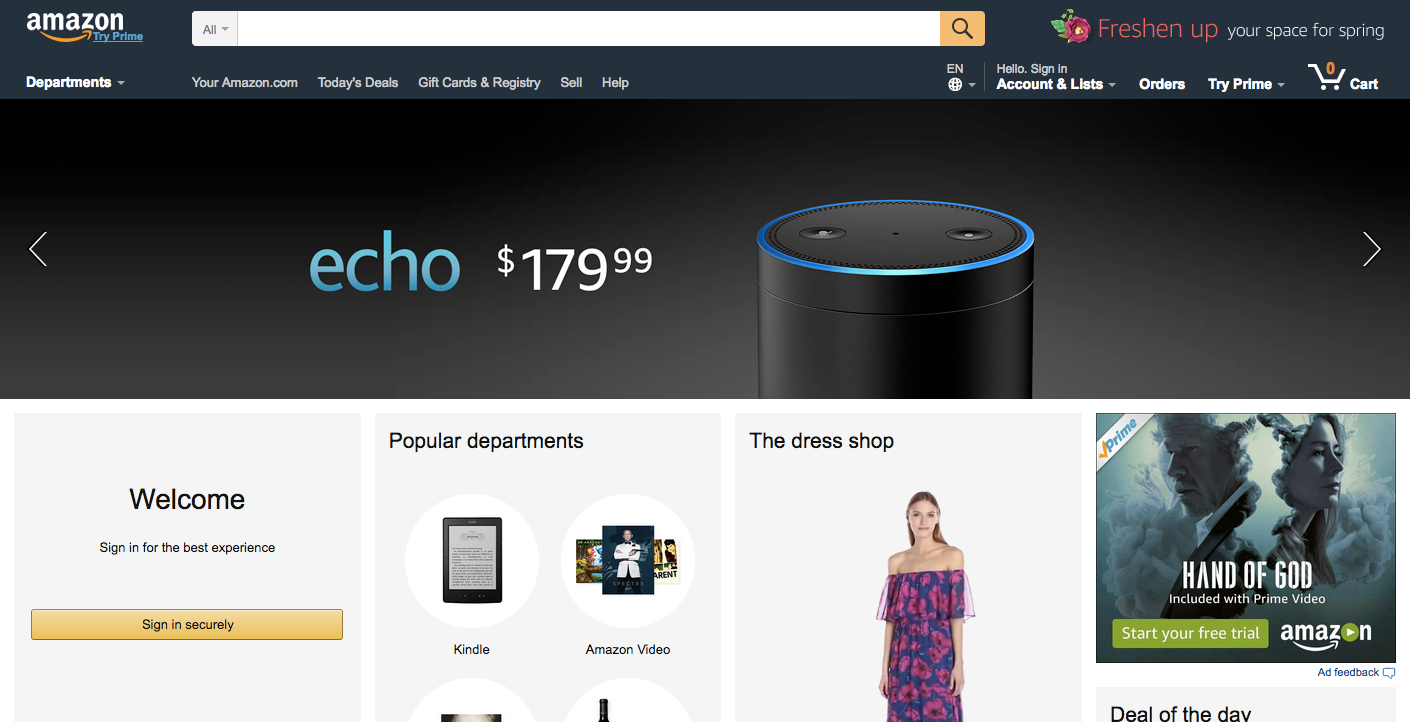 Screenshot of Amazon's home page