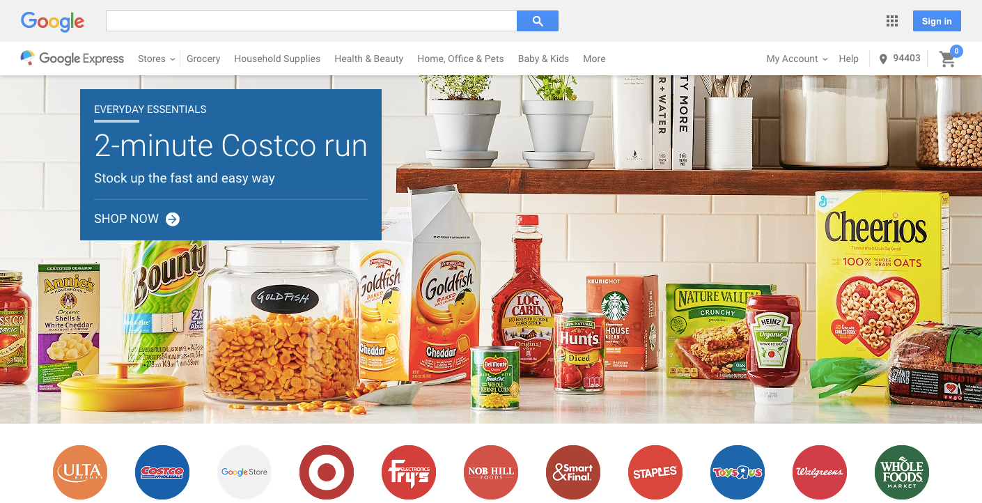 Screenshot of Google Express home page