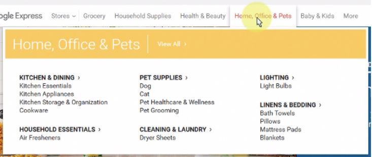 Home, Office & Pets dropdown on Google Express