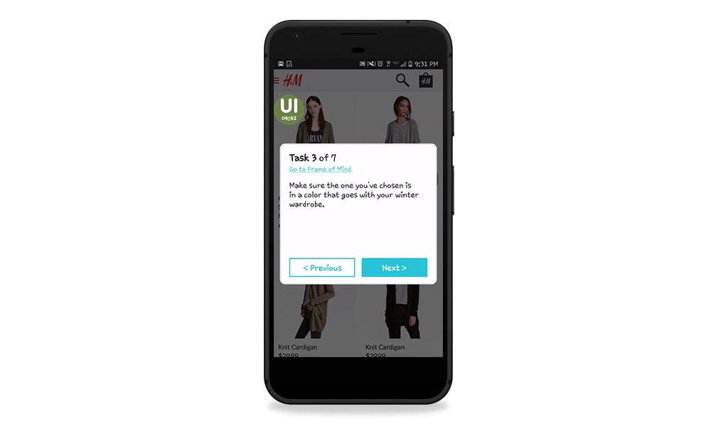Usability testing tasks display on H&M mobile test
