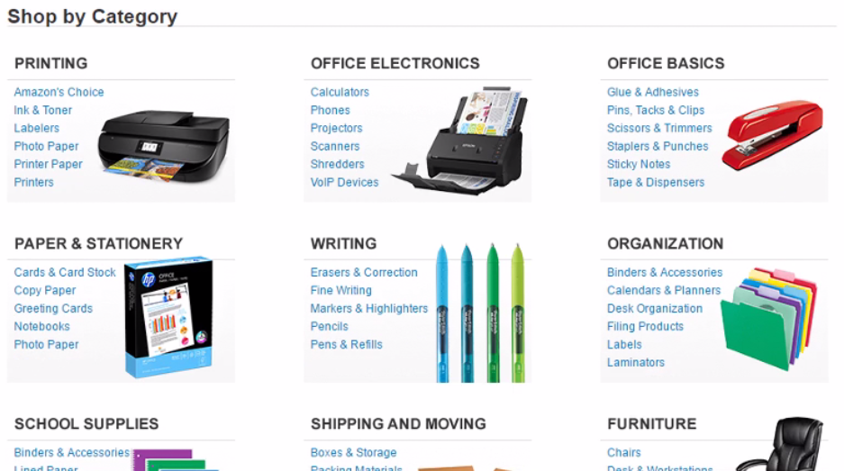 Office supplies section during Amazon usability test