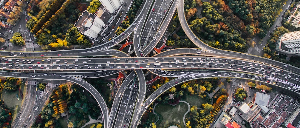 Freeways criss-crossing going different directions