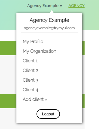Client portal links on an example Agency account