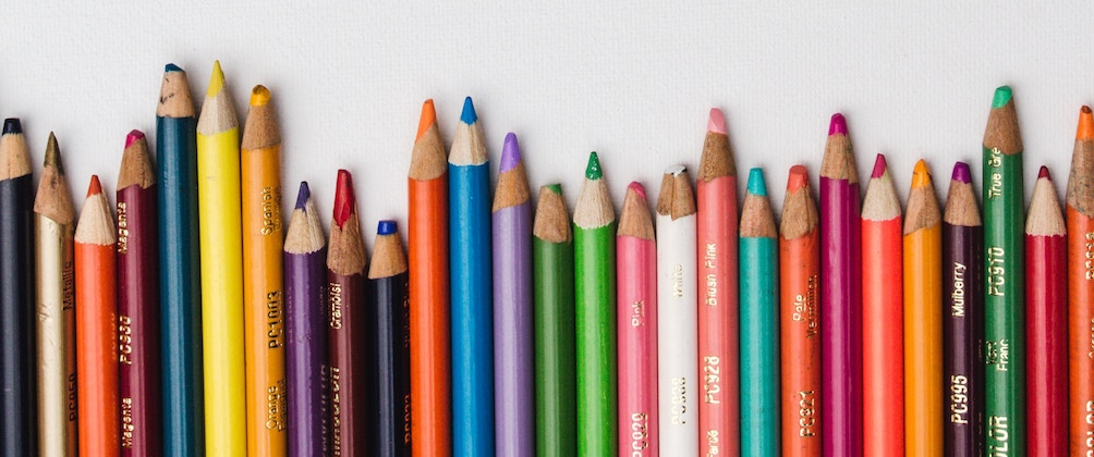 Picture of a row of colored pencils