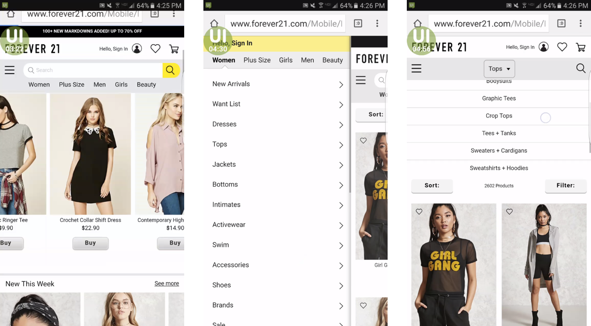 Screenshots of Forever 21's navigation menus at 3 different levels