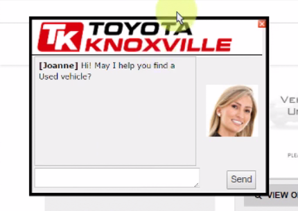 Chat window from Toyota Knoxville