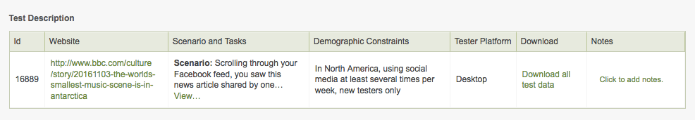 Location of the link for downloading your test data