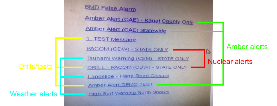 Different categories on the Hawaii Emergency Alerts board