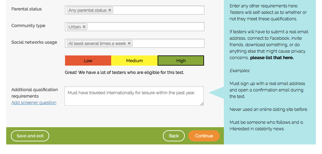 Using the additional qualification requirements box to screen for users
