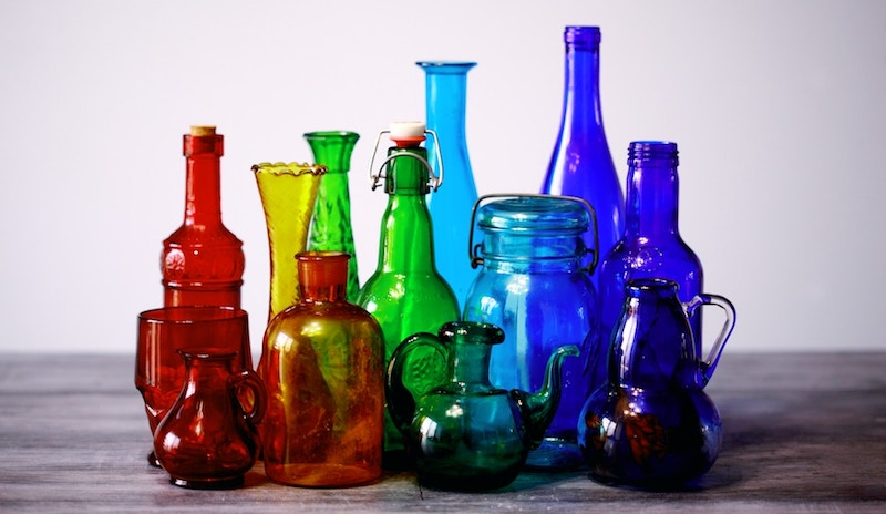 Jars and vases in a variety of shapes, sizes, and colors