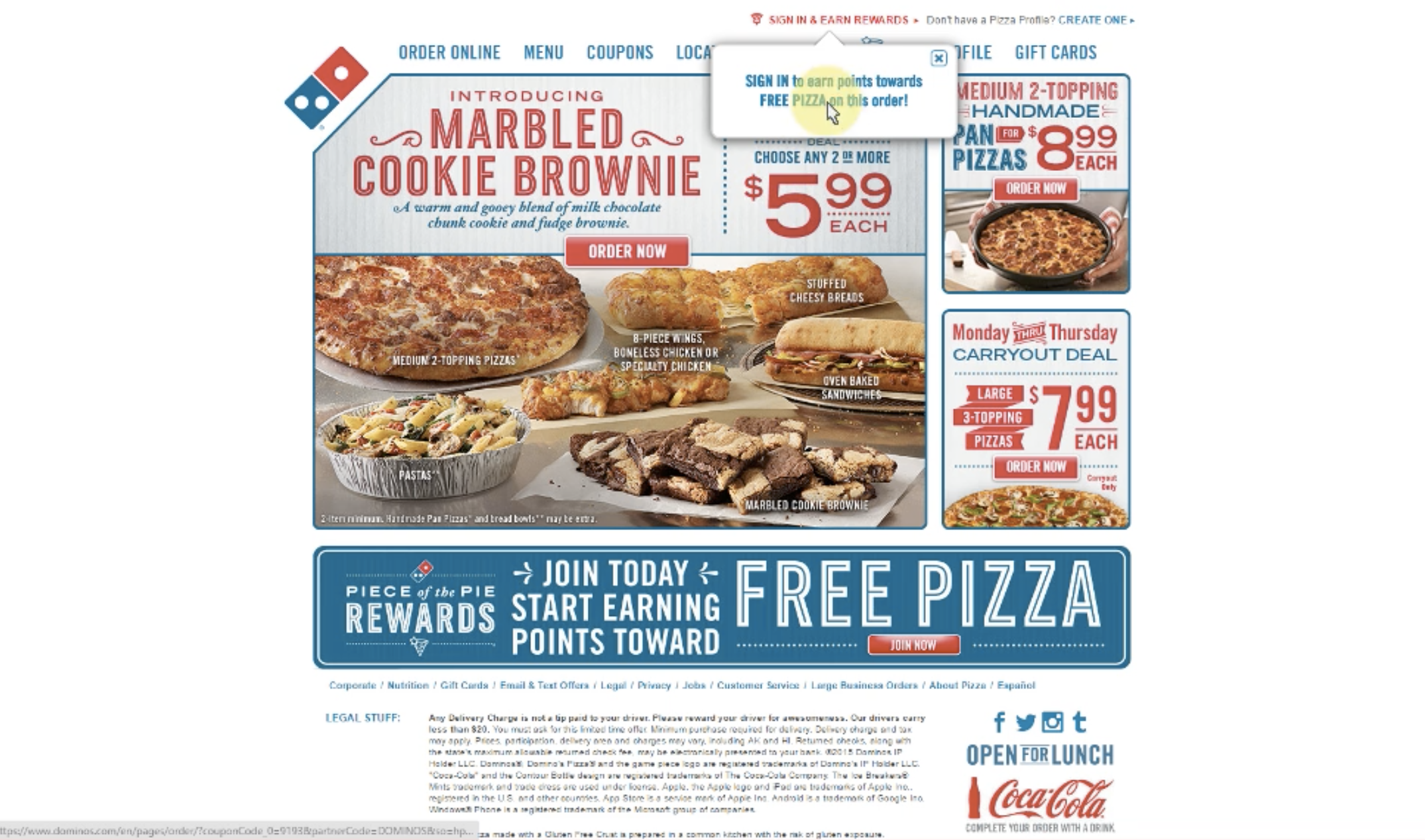 Domino's website home page showing pictures of different menu items