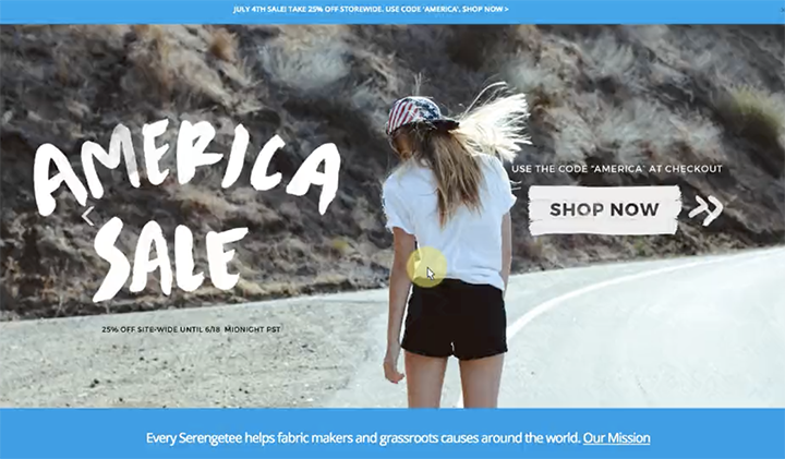 The central image on Serengetee's website home page