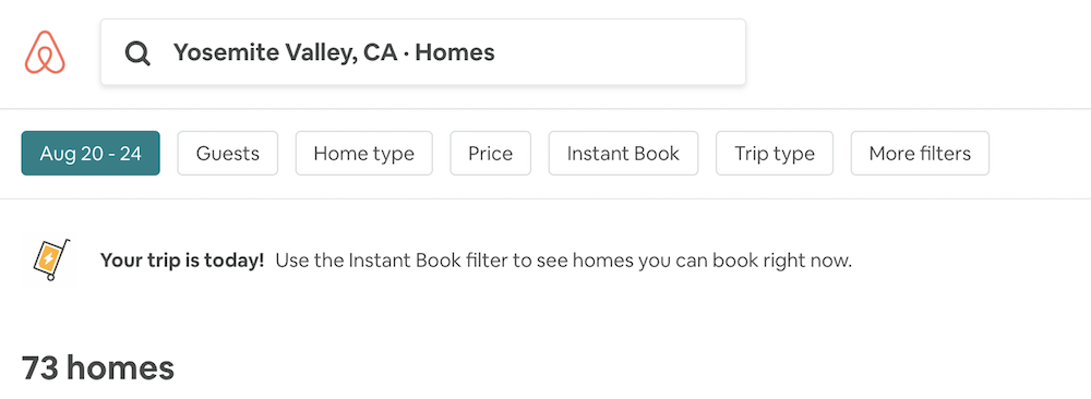 Airbnb shows 7 filters at the top of the search results page